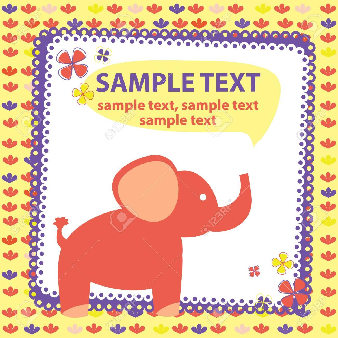 vector baby card with elephant Stock Vector - 22680534