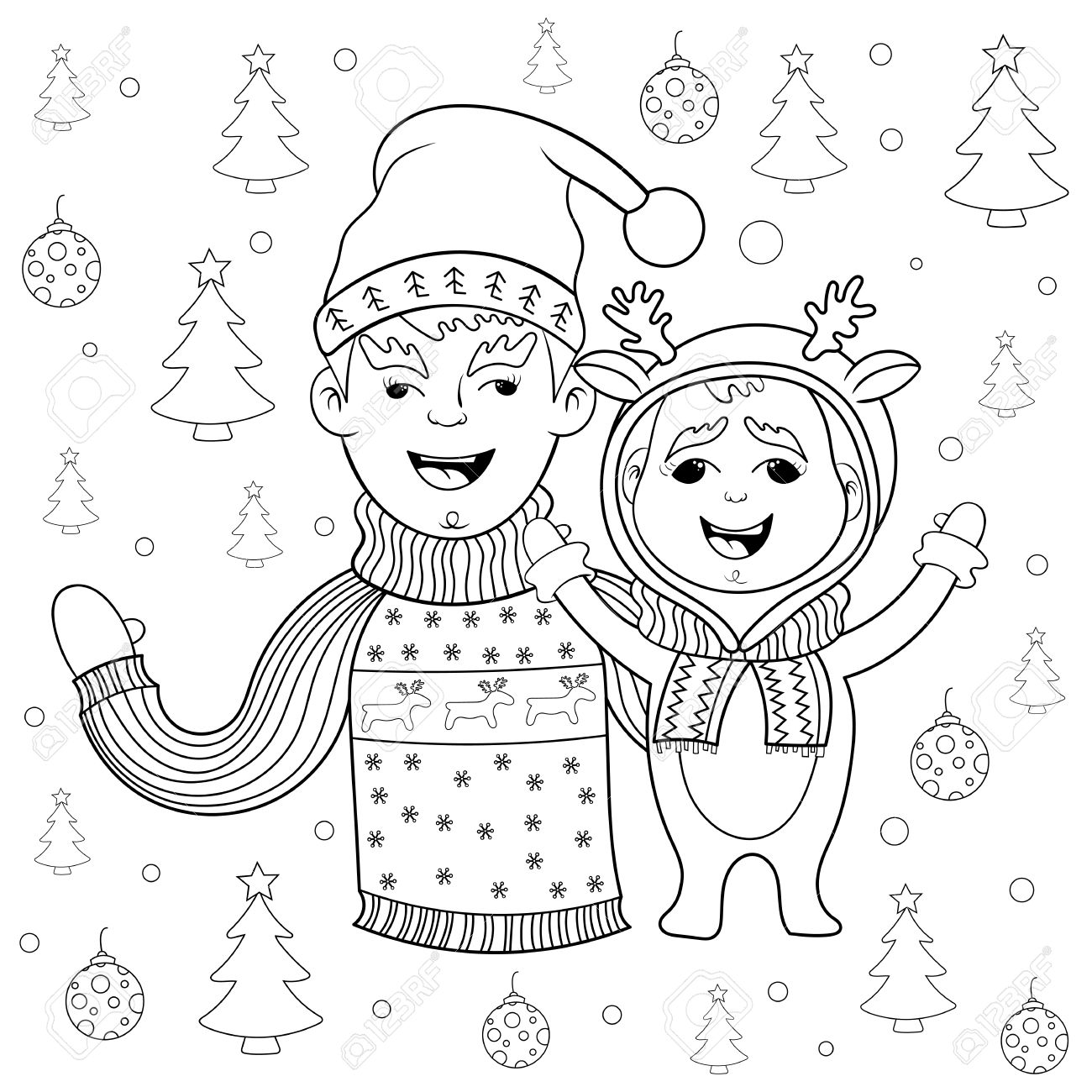 Coloring Book New Year And Christmas Card Happy Family Father