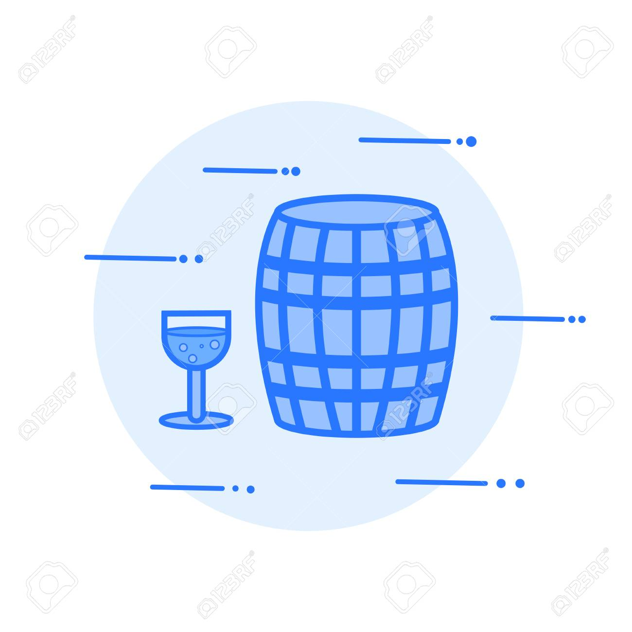 wine barrel and glass vector illustration icon. - 80901080