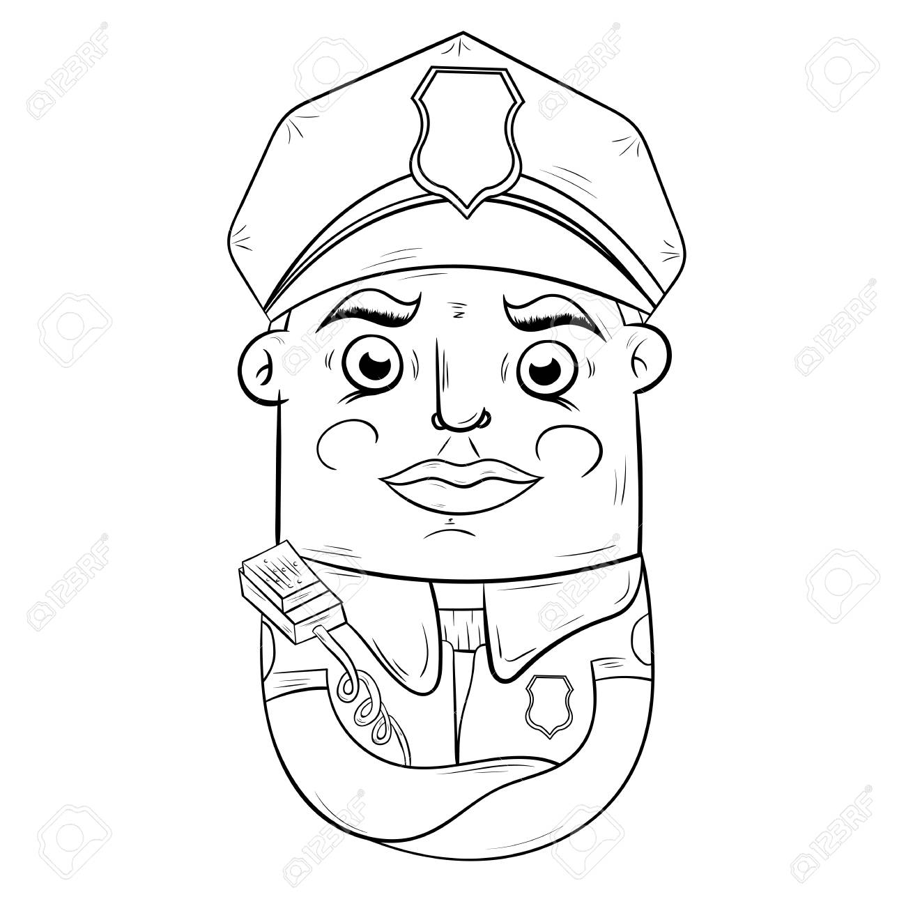 - Cartoon Police Officer. Character Design, Book Coloring. Royalty