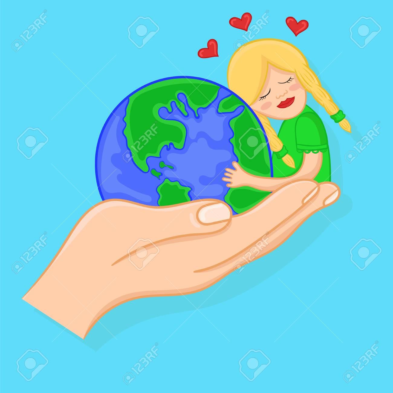 Amour Pour La Planète Terre Fille De Dessin Animé étreignant Un Globe