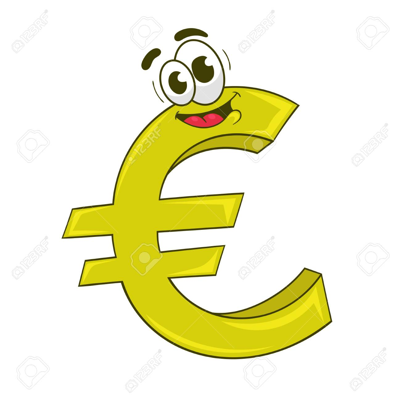 Cartoon Funny Currency Sign Euro Vector Illustration Royalty Free