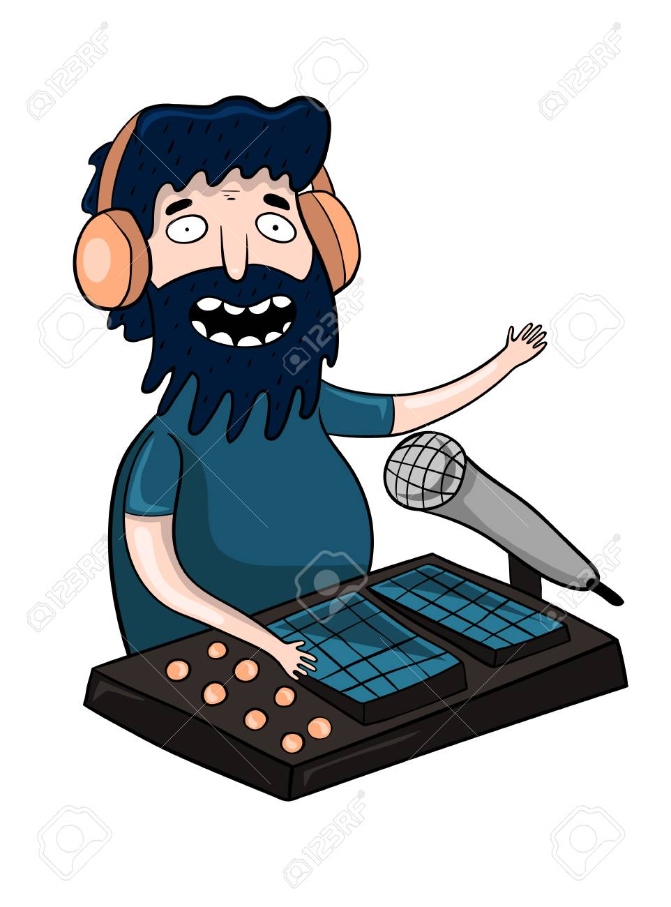 cartoon radio dj leads a live stream vector illustration royalty