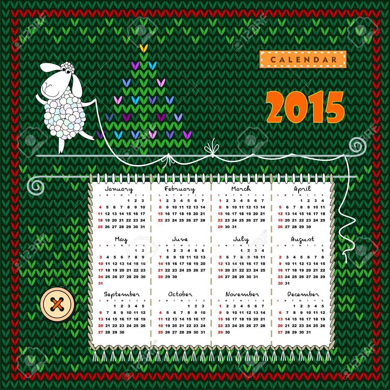Super Calendario 2015 Con Nombres En Inglés De Los Meses Y Domingo  YL31