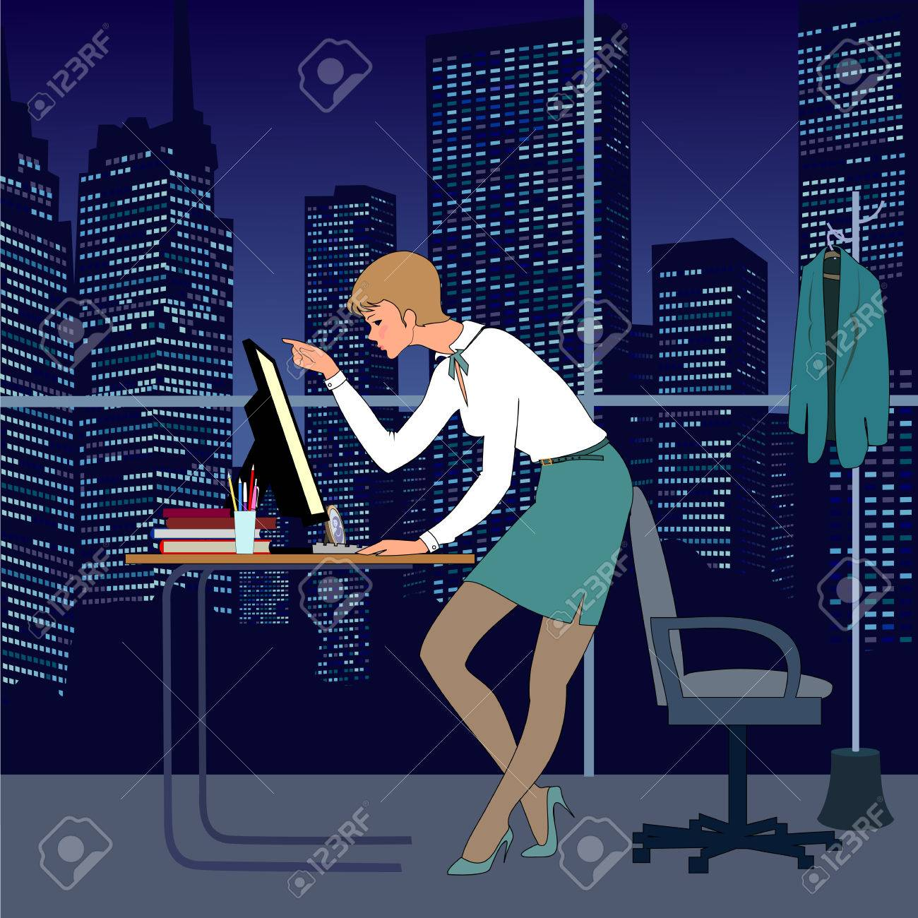 nice young woman work in office at night there are table computer armchair person a