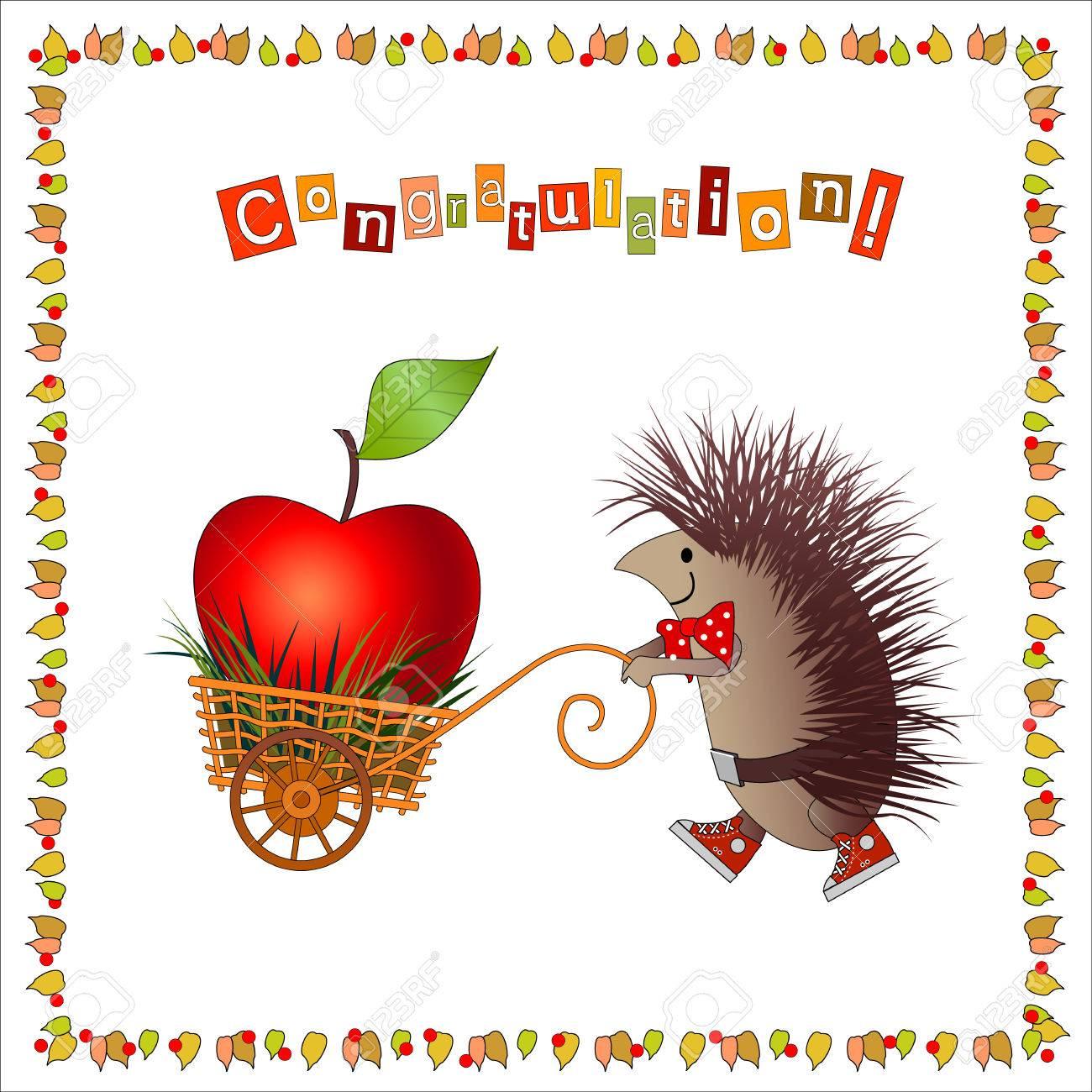 cartoon hedgehog carries big apple in nice handcart frame consist
