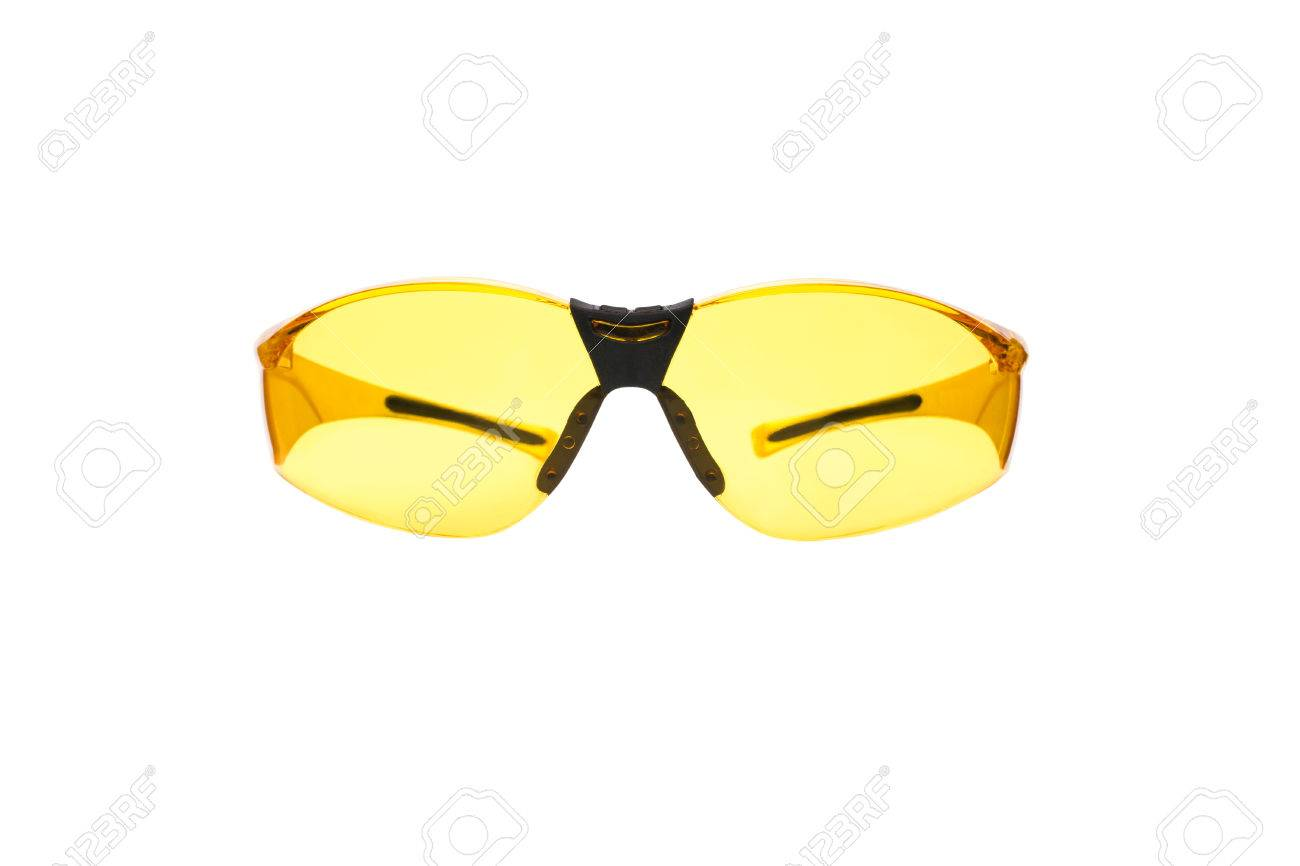 349f09b2e6f Yellow Safety Glasses For Shooting Isolated On White. Stock Photo ...