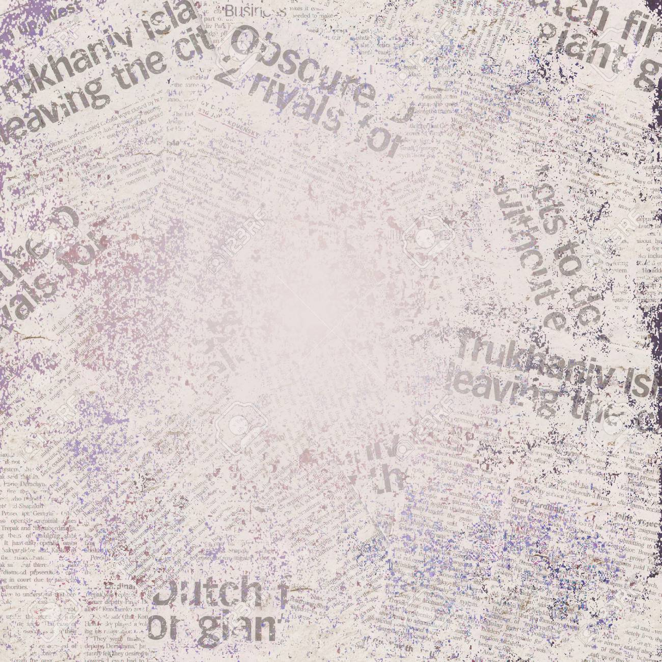 grunge light purple old newspaper background. space for text stock
