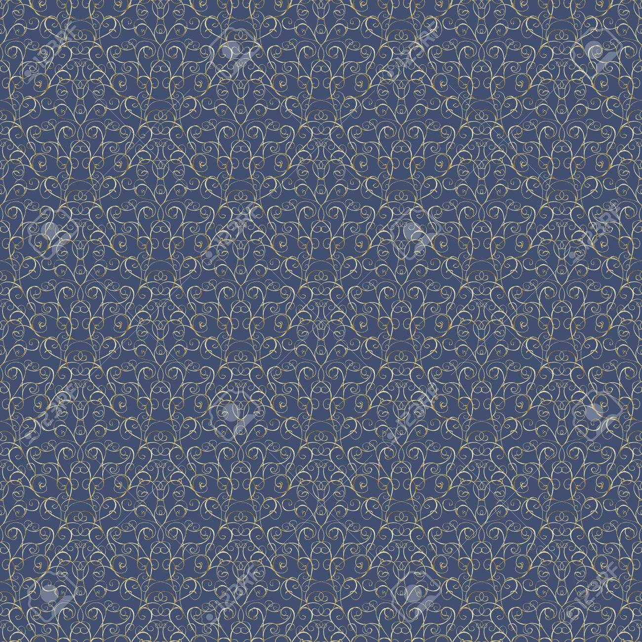 Luxury Silver Seamless Pattern On Blue Navy Background For