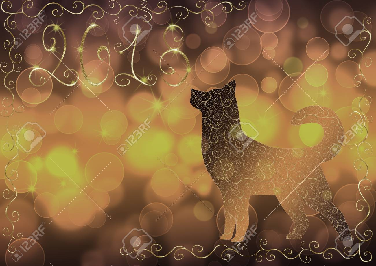 purple gray and yellow bokeh new year background with a dog and the number 2018