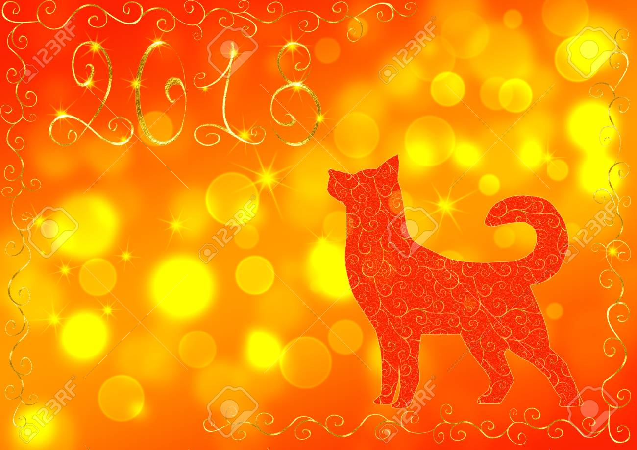 red and yellow new year background with a dog the number 2018 and bokeh effect