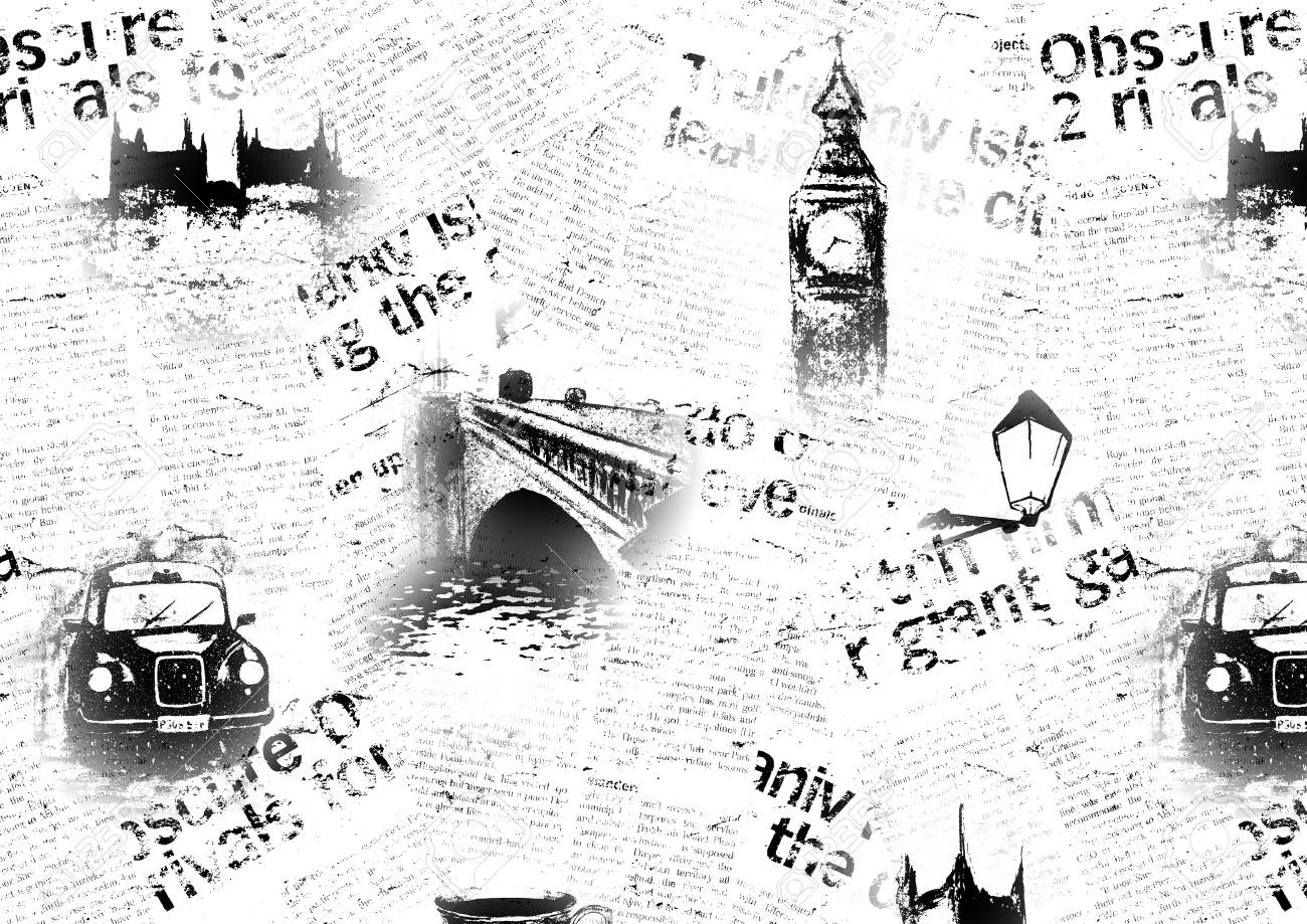 Black And White Newspaper London Background Texture With Hand Drawn Symbols Of England Big