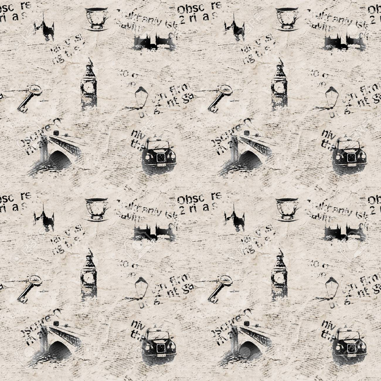 Vintage Black And White Newspaper London Grunge Background Seamless