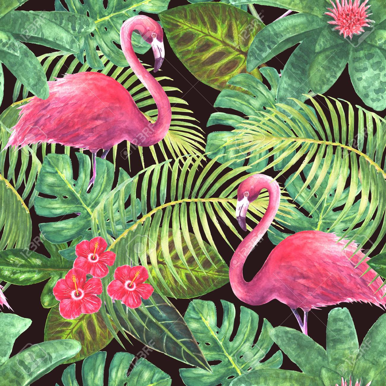 Paradise background tropical exotic pink flamingos green leaves tropical exotic pink flamingos green leaves branches and bright flowers on dark background watercolor hand drawn illustration mightylinksfo