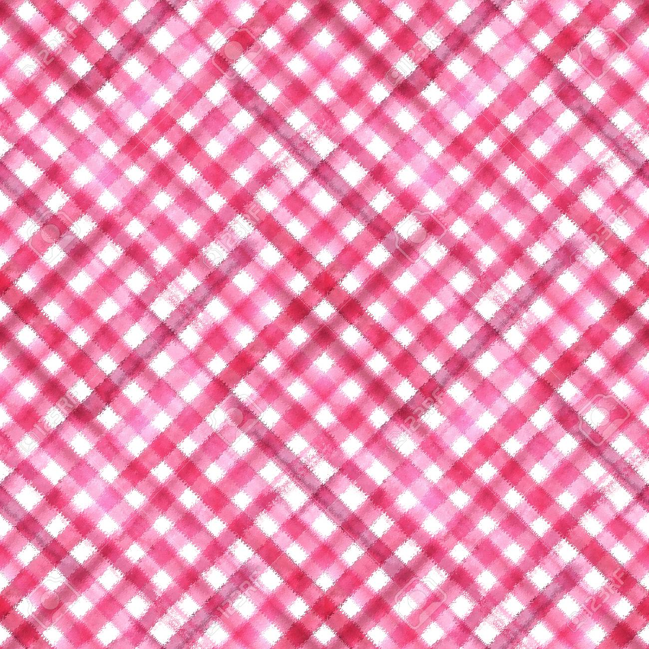Pink And White Grunge Gingham Plaid Ripply Diagonal Abstract Geometric Seamless Pattern Background Watercolor Hand