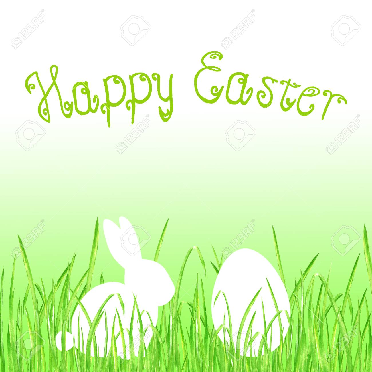 easter bunny rabbit egg hunt lime green gradient background happy easter template design hand drawn