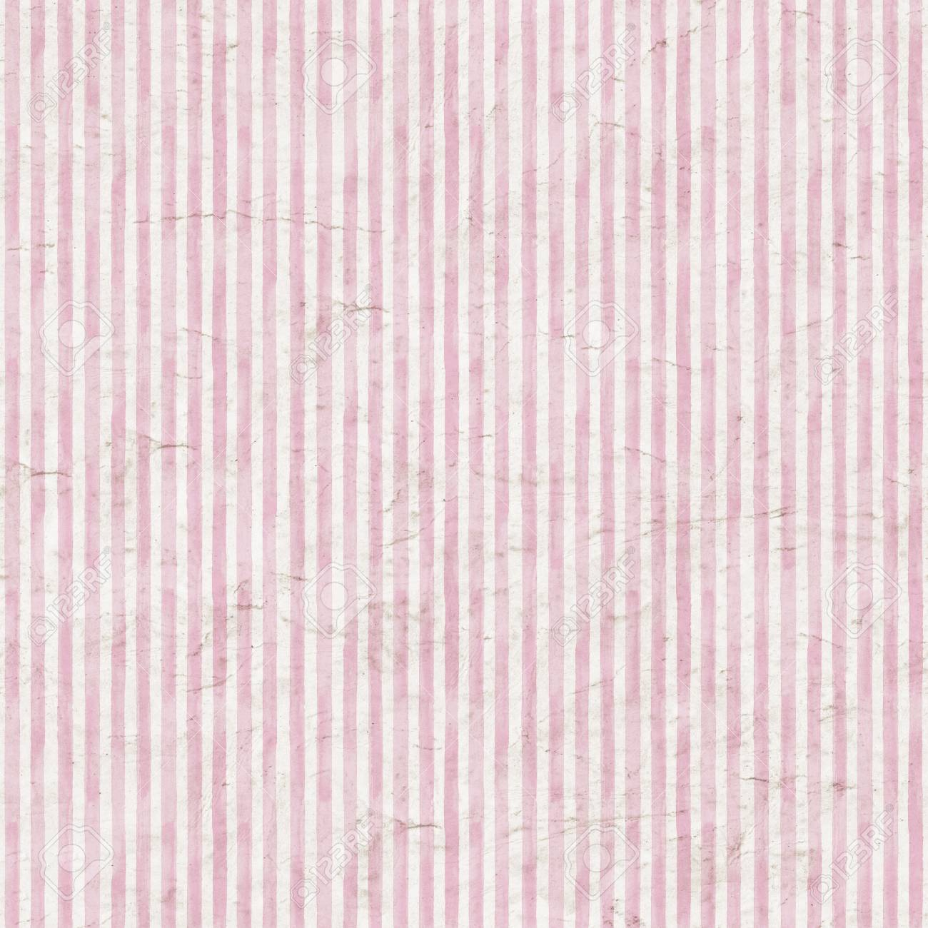 Vintage Pink Stripe Background Old Aged Paper With Watercolor