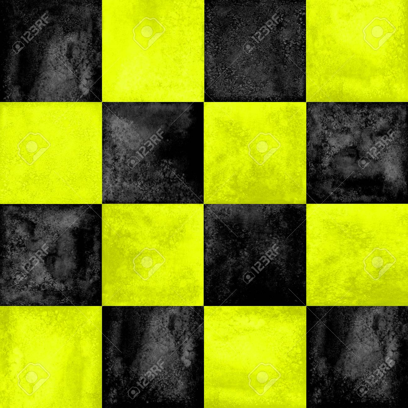 Black And Yellow Checkered Plaid Seamless Pattern Watercolor