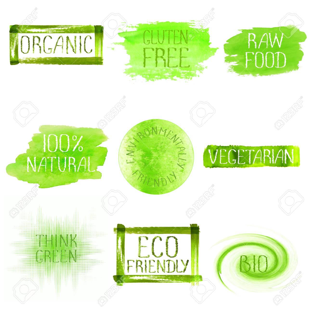 Green Watercolor Logo Design Template Set Green Watercolour