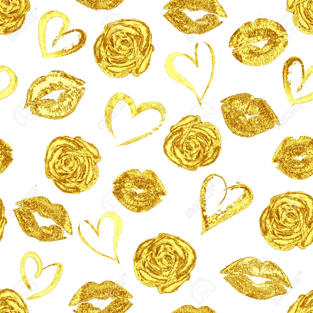 Seamless Romantic Pattern With Beautiful Gold Lips Kiss Traces