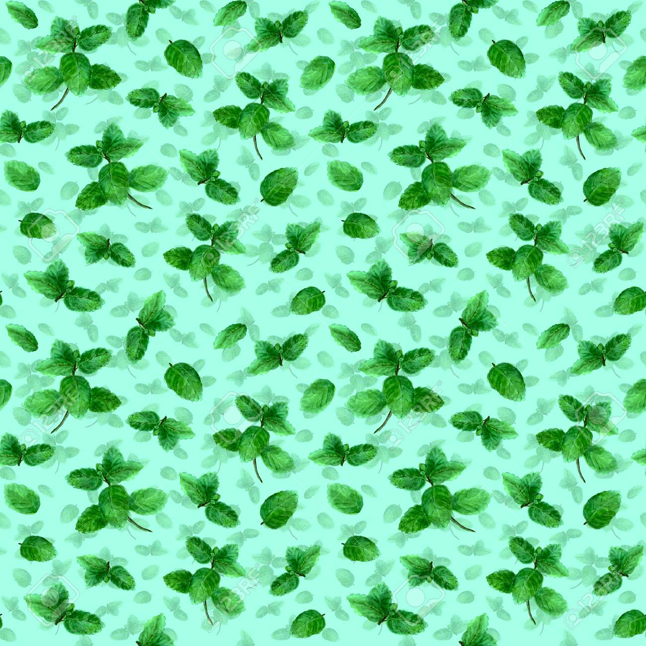 Mint Herb Spice Leaves Seamless Pattern On Teal Background