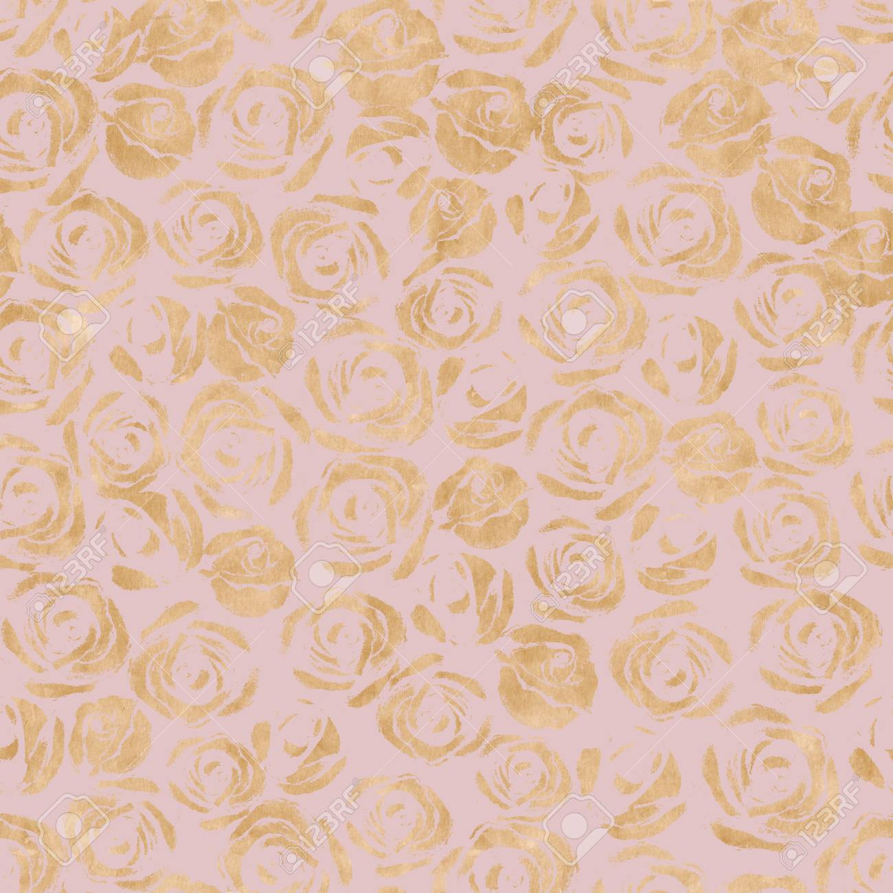 Rose flowers abstract gold metal seamless pattern. Luxury yellow..