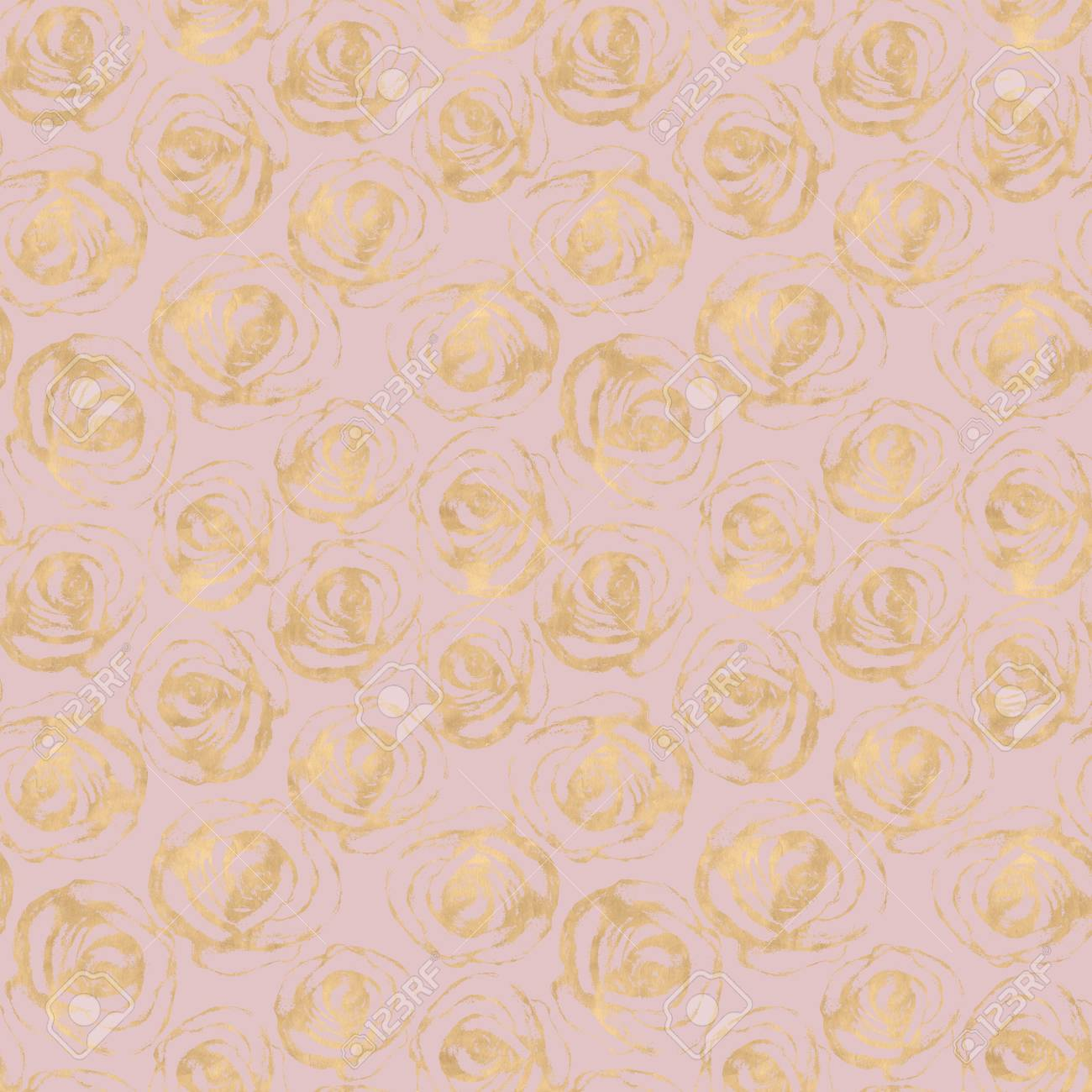 Rose Flowers Abstract Glitter Gold Seamless Pattern Luxury Yellow