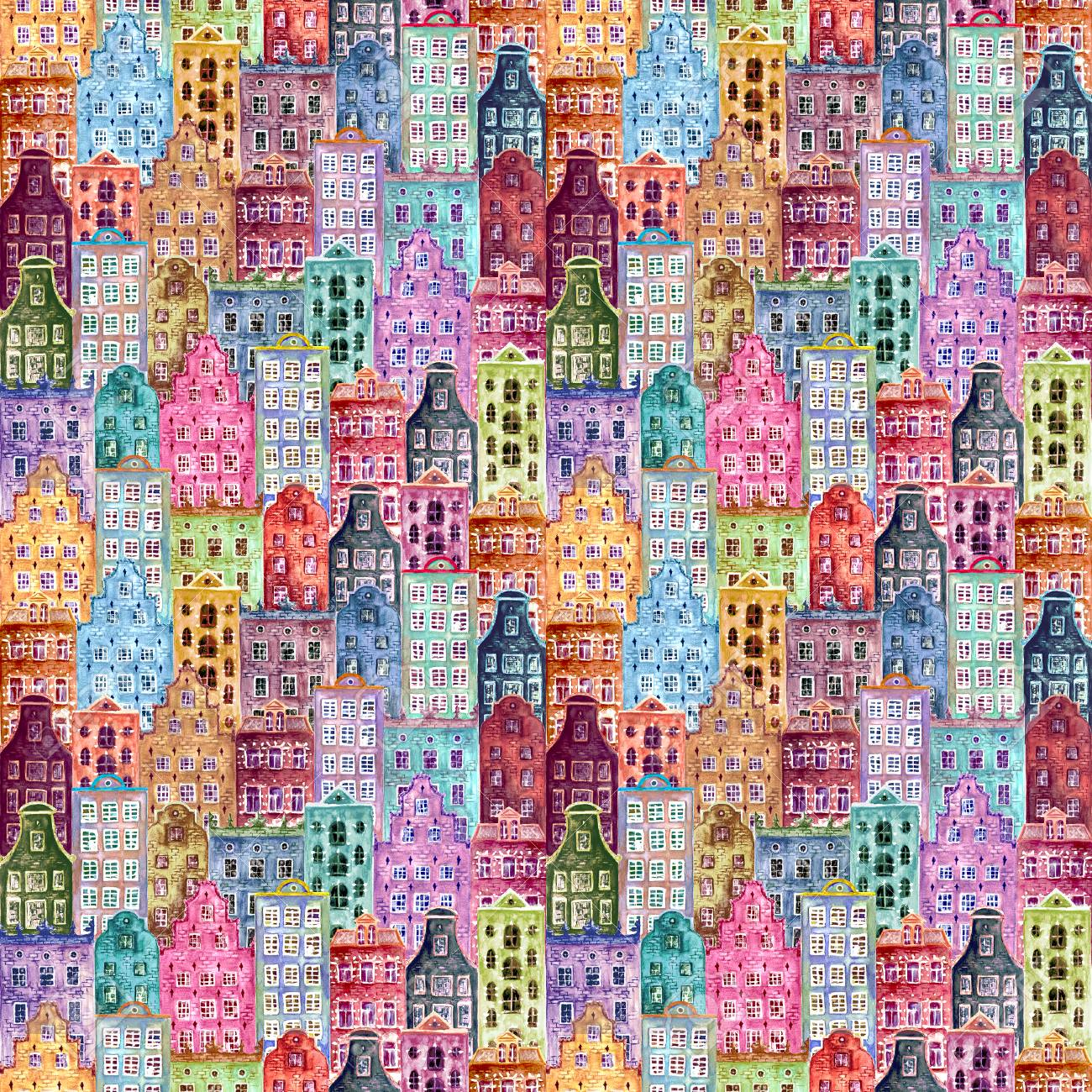 Old europe houses. Seamless pattern of watercolour colorful european amsterdam style houses. Watercolor hand drawn Netherlands stylized facades of old buildings background. Template illustration. - 105706182