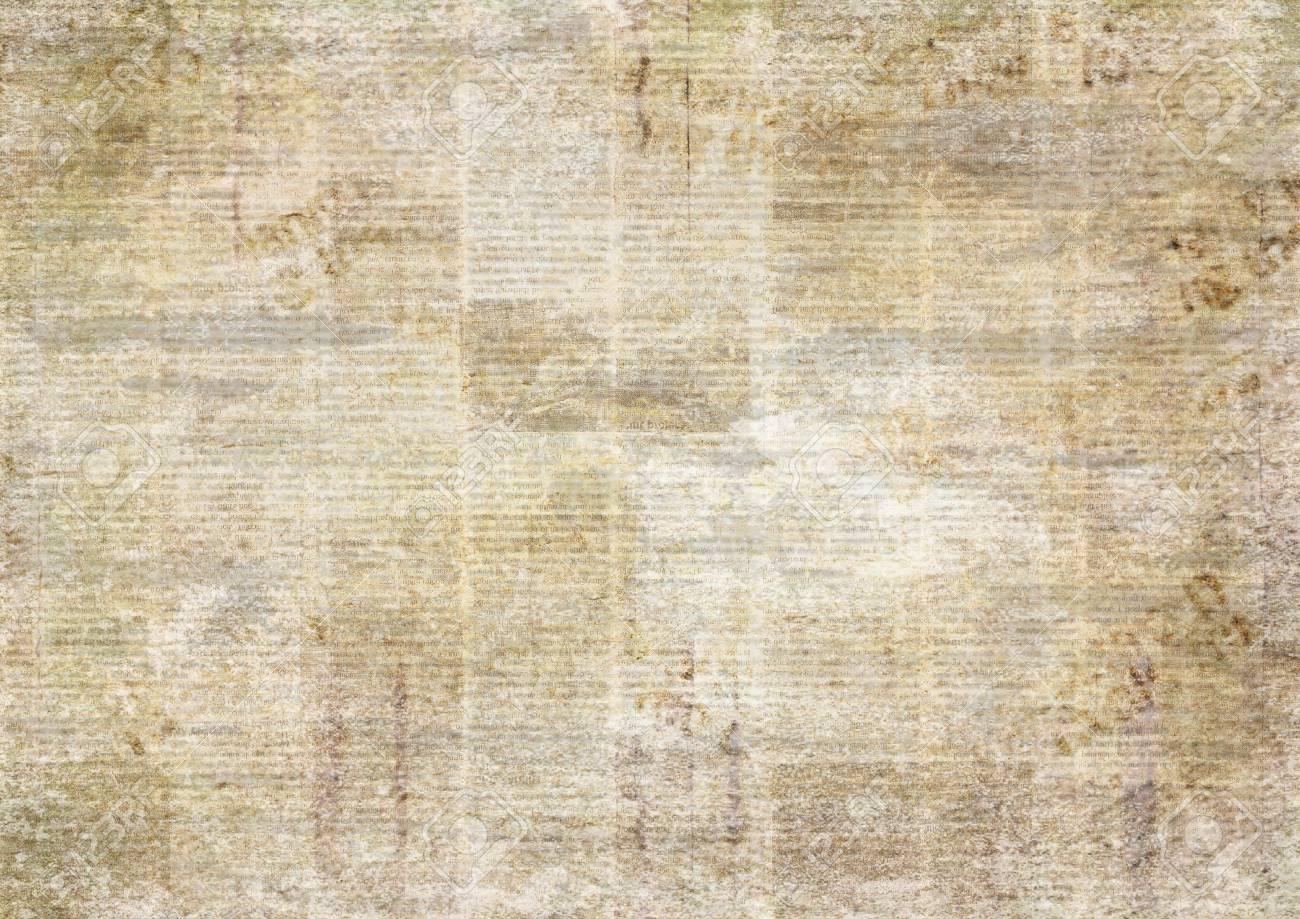 Newspaper Old Ancient Grunge Collage Horizontal Textured Background