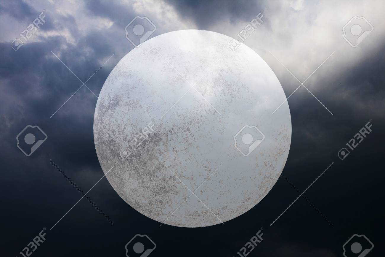 halloween background with full moon on dark spooky night cloudy sky