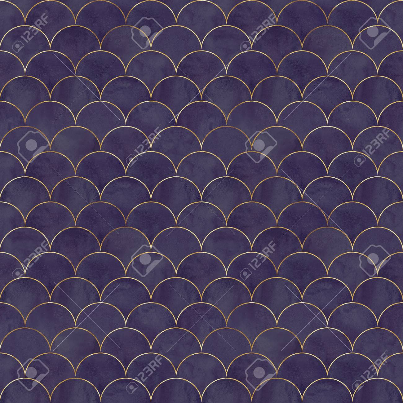 Mermaid fish scale wave japanese luxury colorful seamless pattern