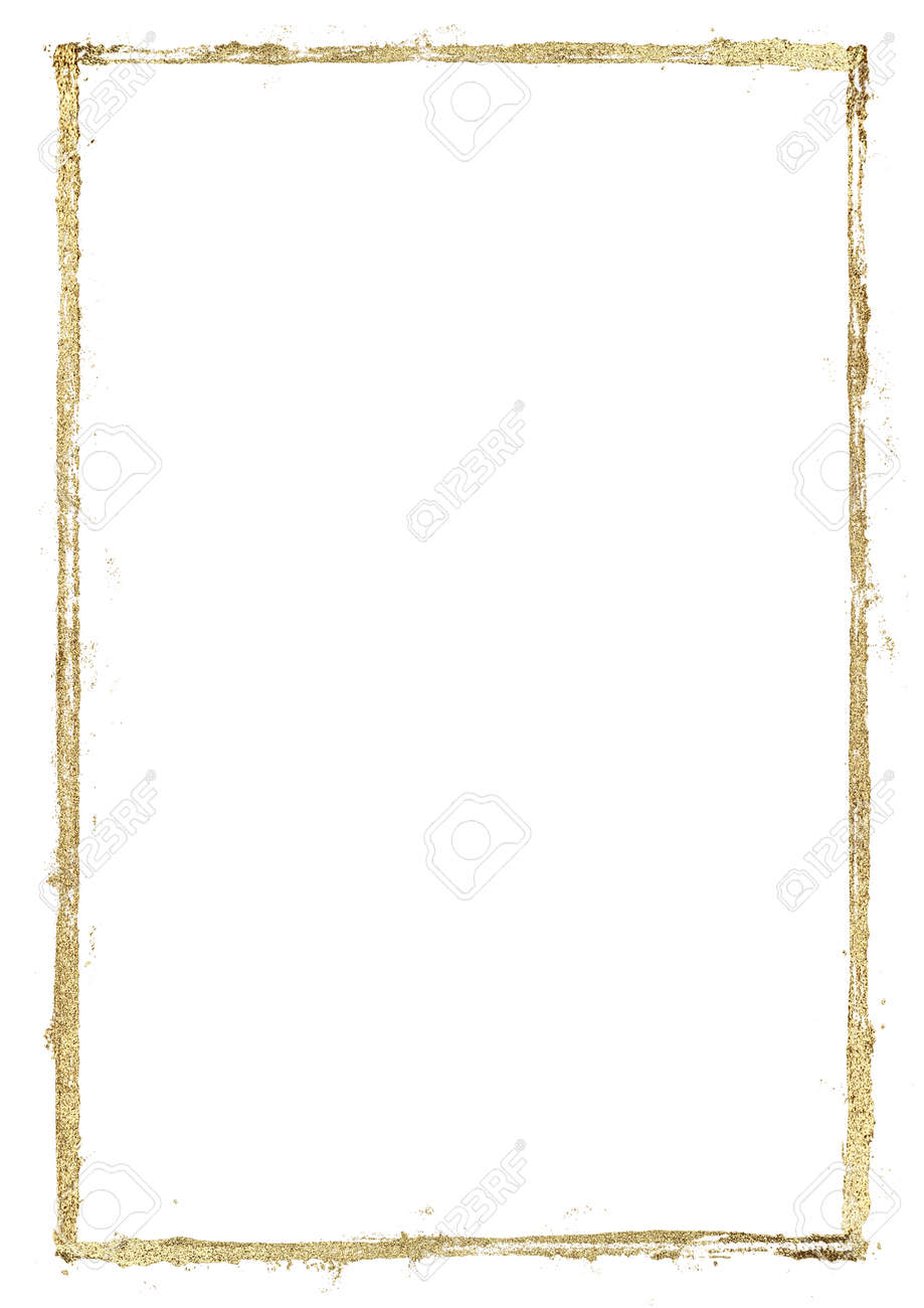 Golden grunge lines frame. Gold shiny glittering hand drawn stripes border on white background. Hand paint illustration. Space for text, image. - 136148205