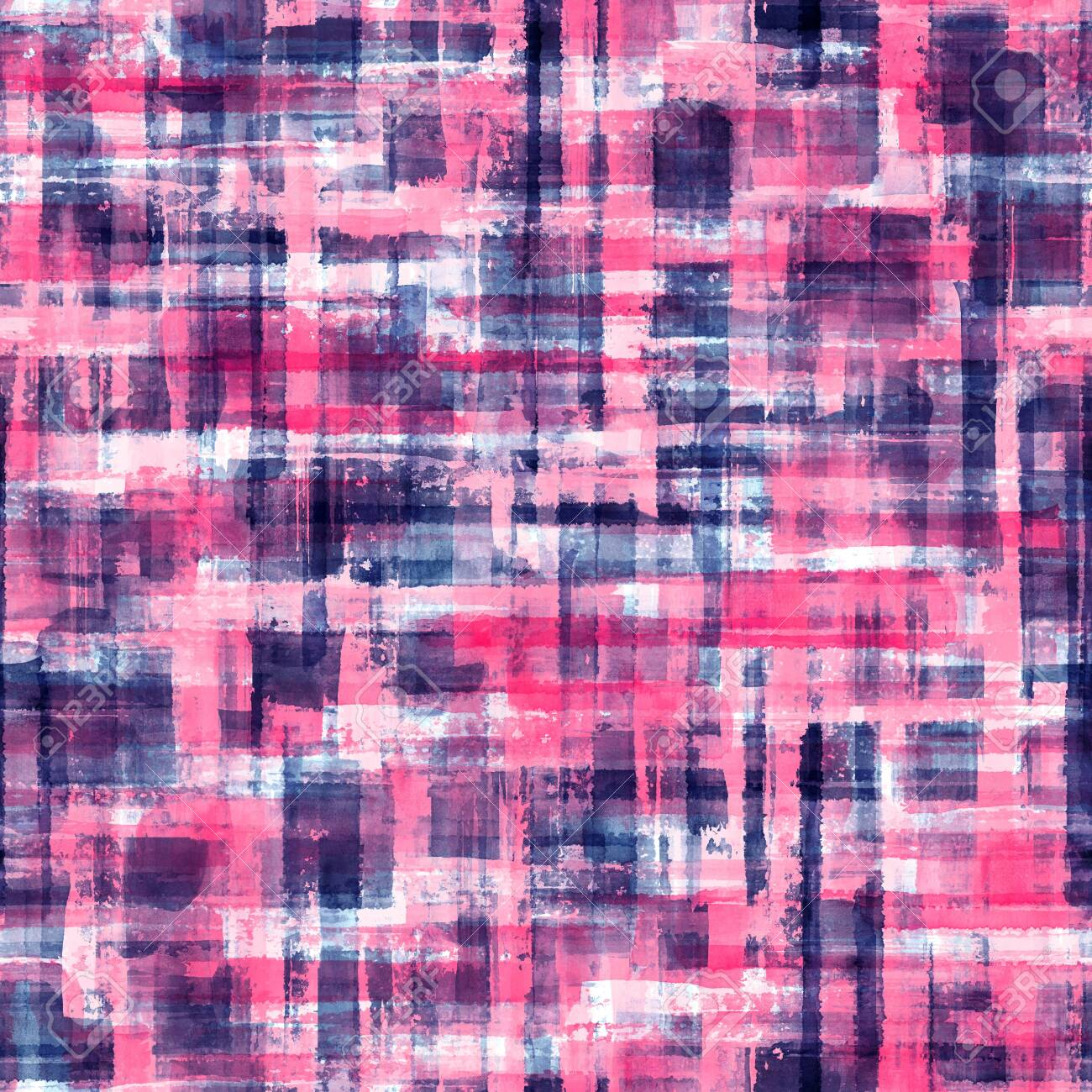Abstract grunge cross geometric shapes contemporary art multicolor seamless pattern background. Watercolor hand drawn colorful brush strokes texture. Watercolour print for textile, wallpaper, wrapping - 147939284