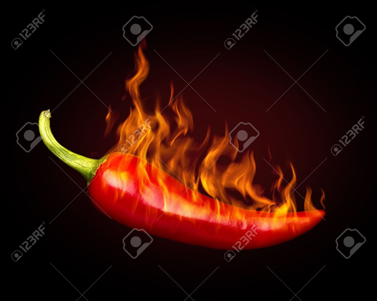 Red hot chili pepper on black background with flame Stock Photo - 10867090