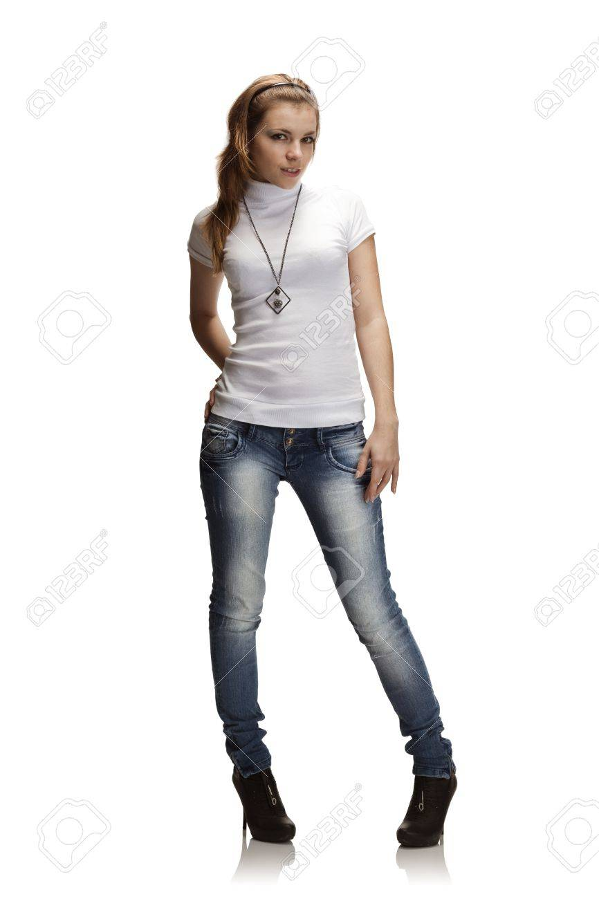 7d4b58ba8a Full-length portrait of beautiful girl in jeans and white t-shirt Stock  Photo