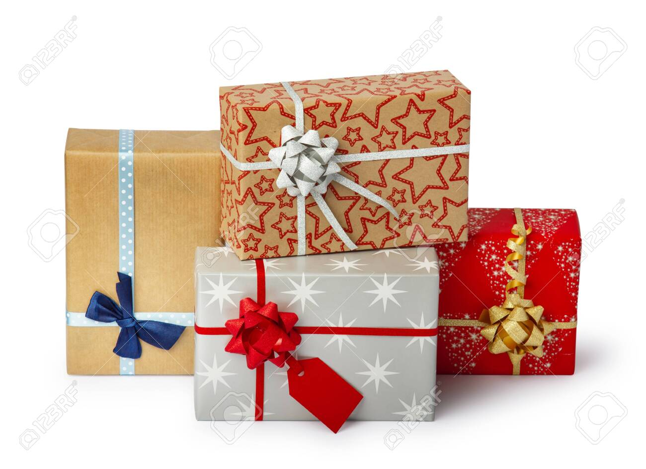 Set of colorful gift box isolated on white background. Path included. - 141091088