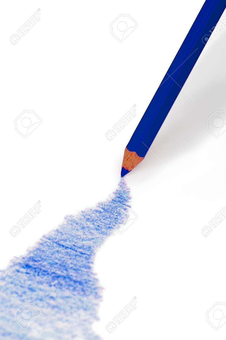 Drawing color pencil over white background blue color
