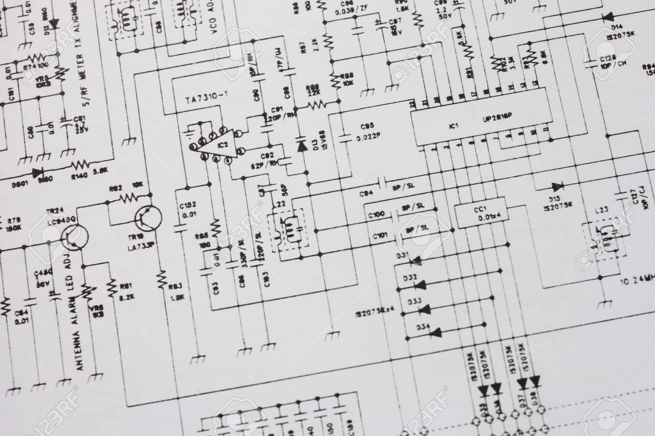 Electronics Engineering Drawing Or Circuit Schematic Stock Photo ...