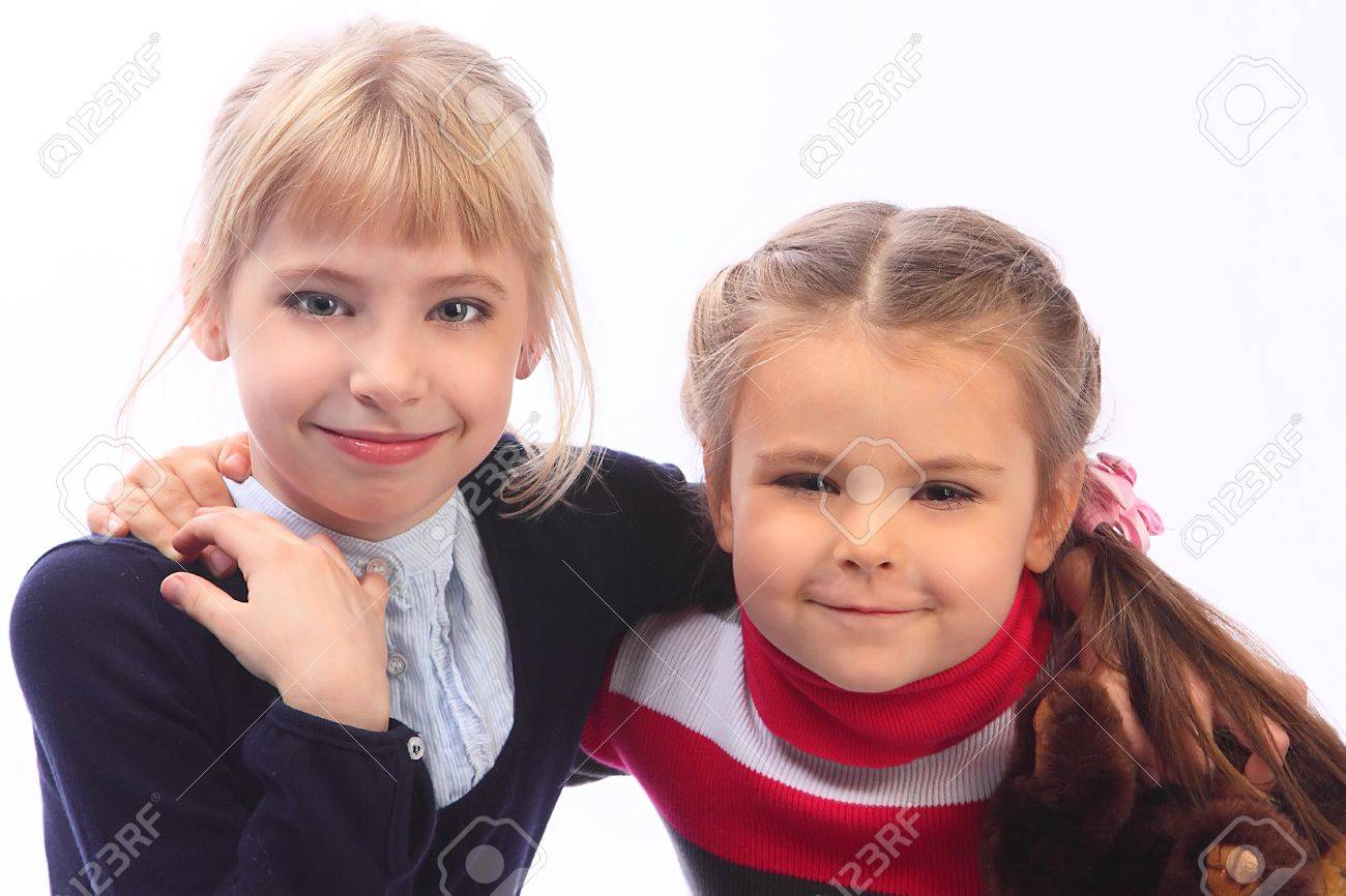 two small nice girls stock photo, picture and royalty free image