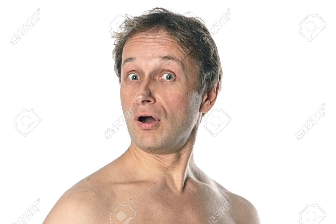 Portrait of a suprise middle age man with naked shoulder Stock Photo -  11423994