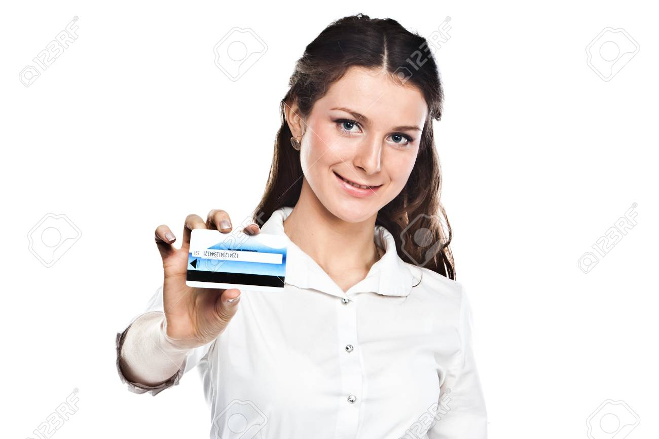 Young and beautiful girl with a credit card in the hands of blue Stock Photo - 12599469