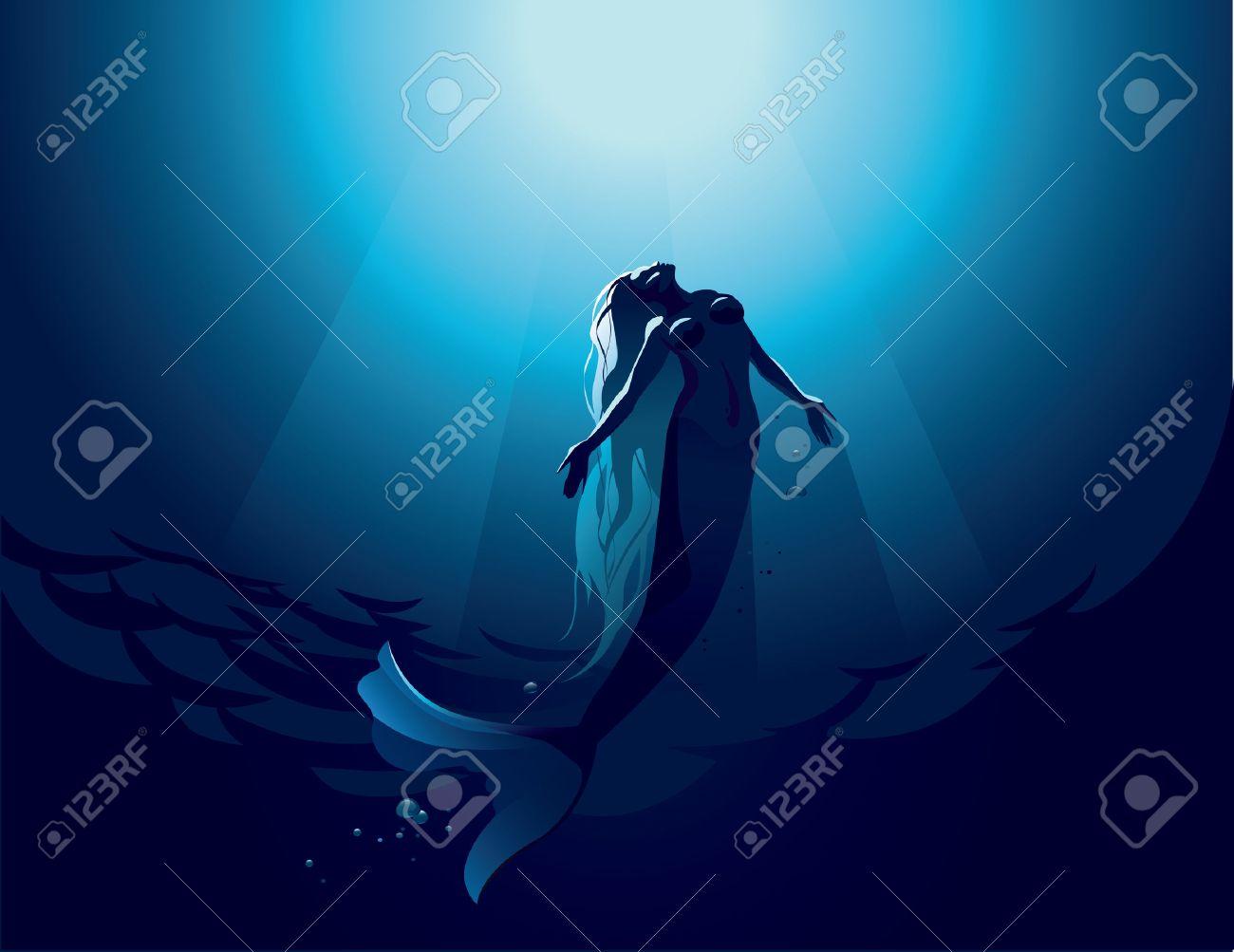 Vector illustration of a beautiful mermaid in water depth - 34231837