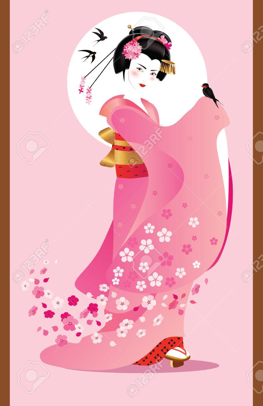 Vector illustration of young Japanese woman in traditional clothes as season symbol. - 34446223