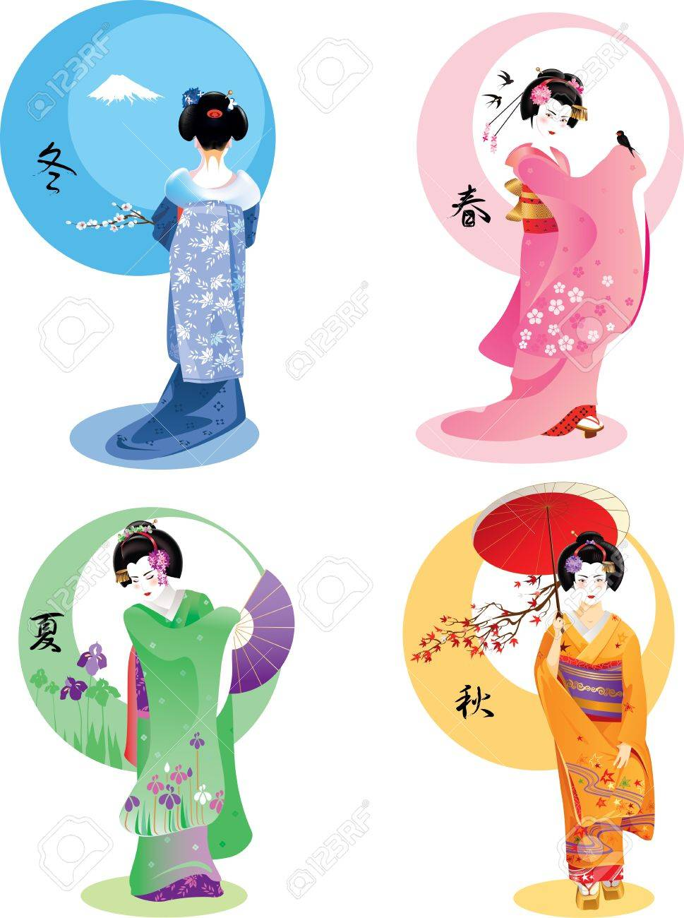Vector illustration of young Japanese woman in traditional clothes as season symbol. - 34446244