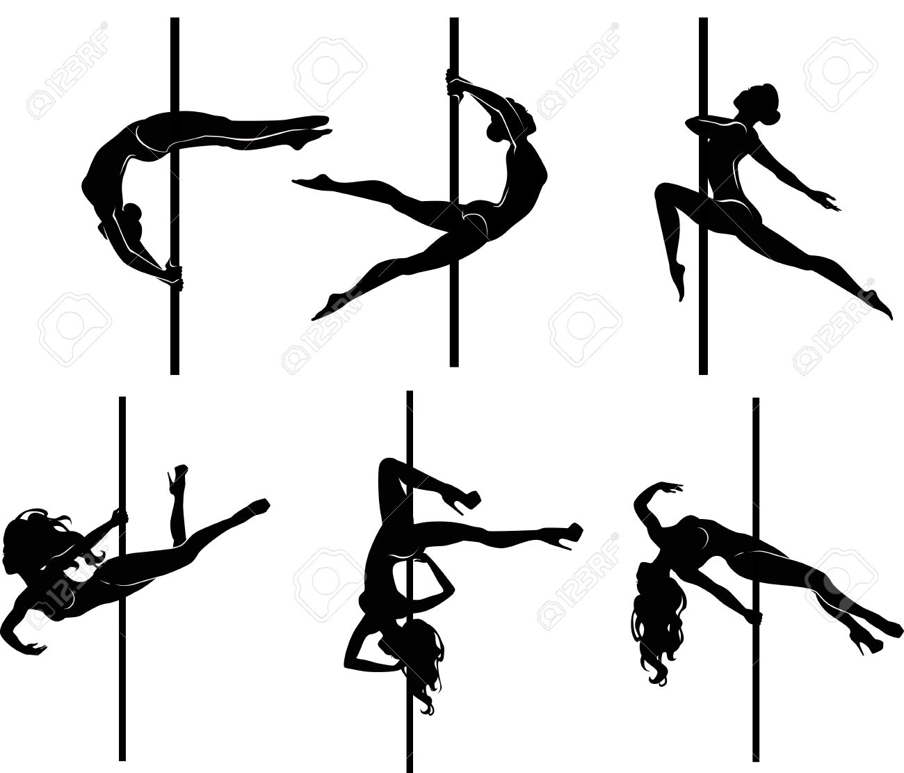 stripper pole  Vector illustration of pole dancers silhouettes in different  poses Illustration. Stripper Pole Stock Photos   Pictures  Royalty Free Stripper Pole