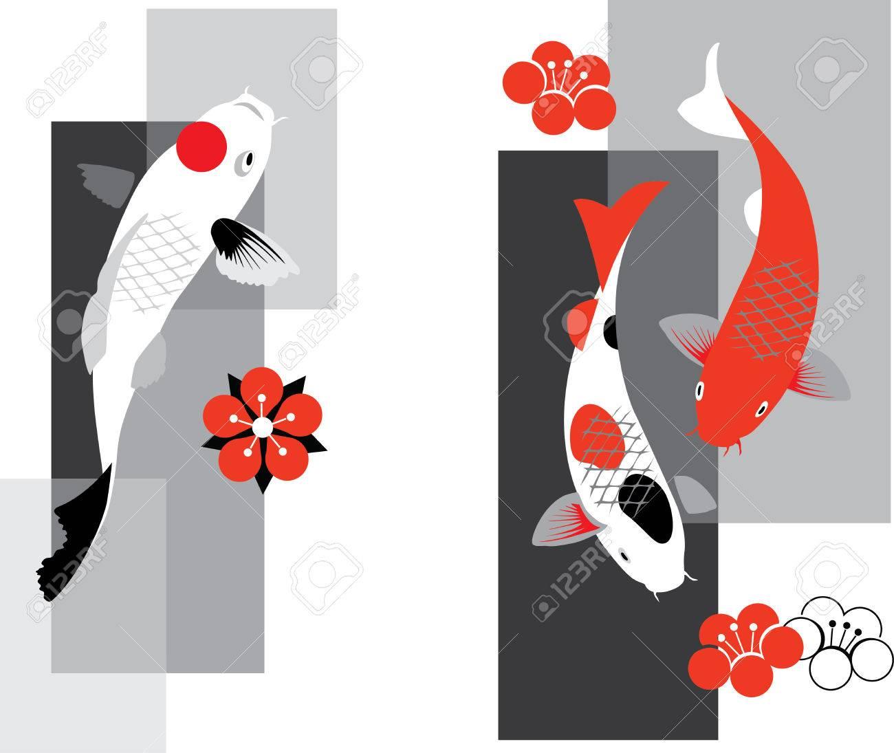 Artistic vector illustration of koi carps in three colors - 40223925