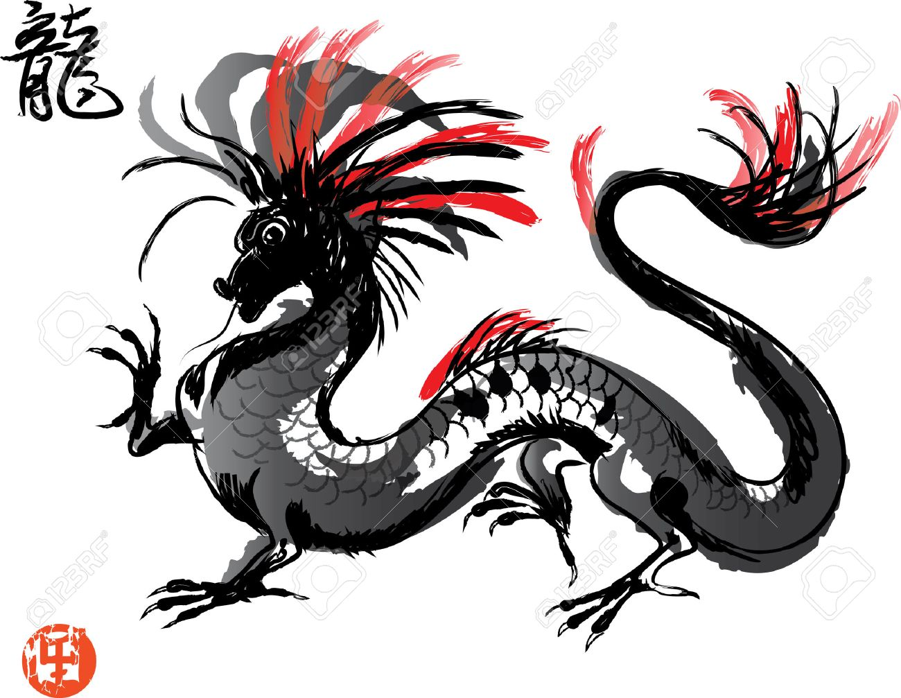 Artistic Japanese Dragon drawing in oriental style - 51289107