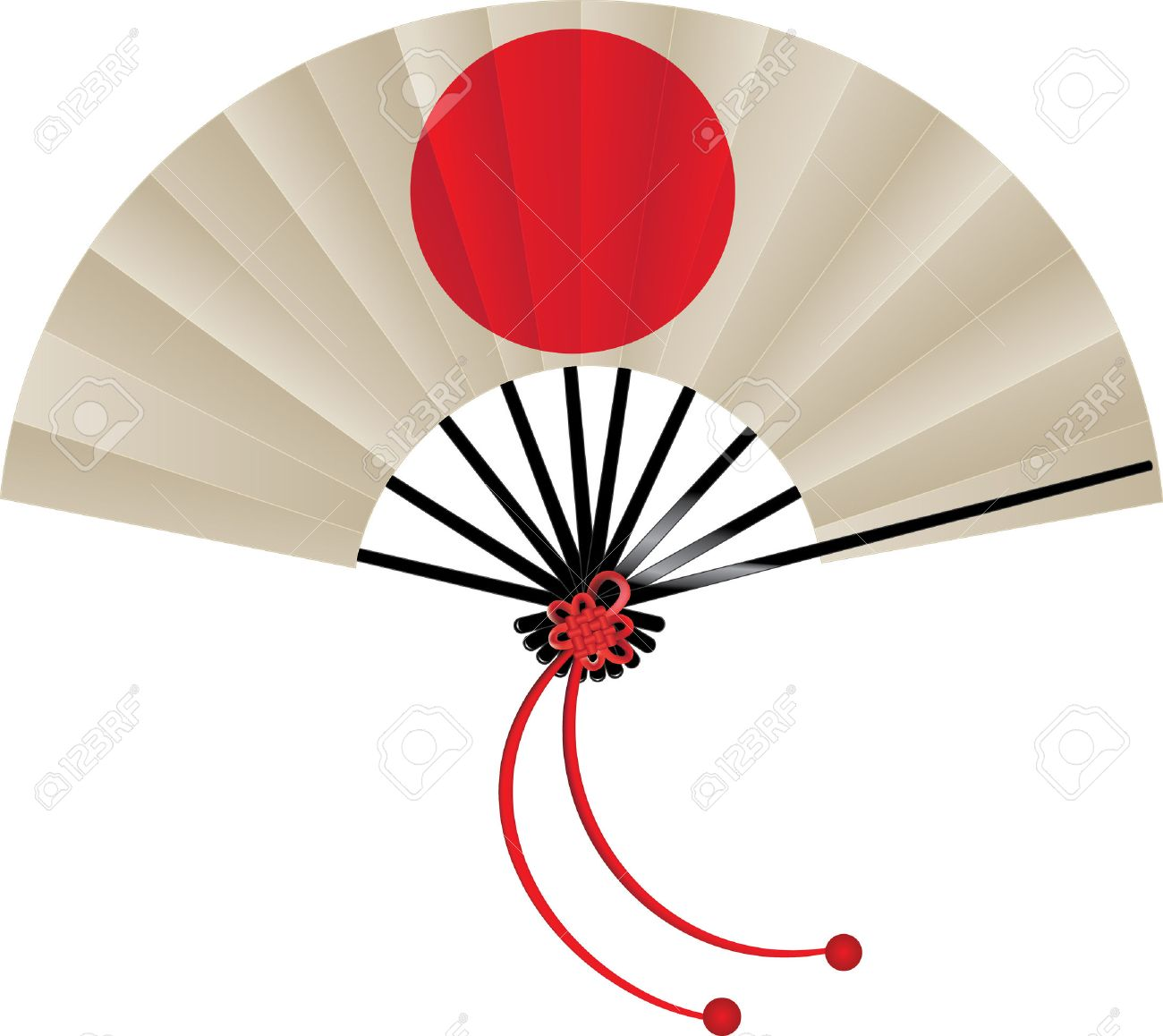 Vector illustration of Japanese flag fan with tie - 52899621