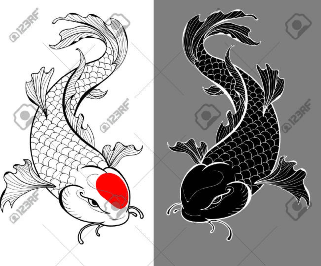 Ilustracin Artstica De Carpas Koi En Estilo Del Tatuaje
