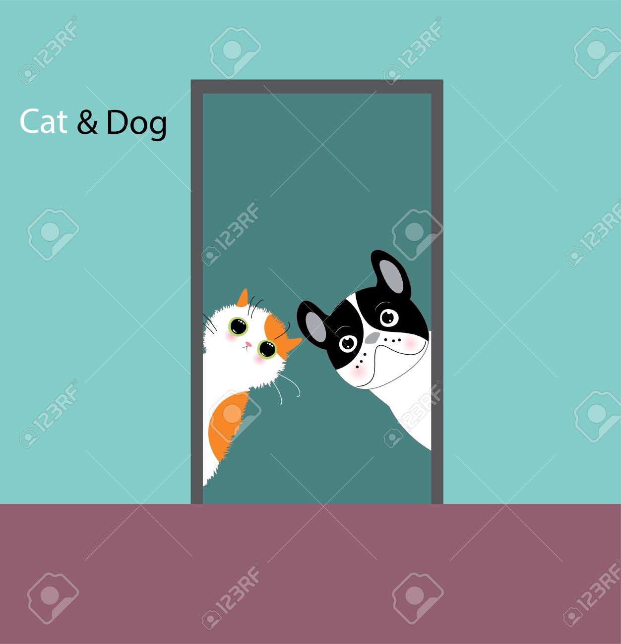 Funny dog and cat - 98613385